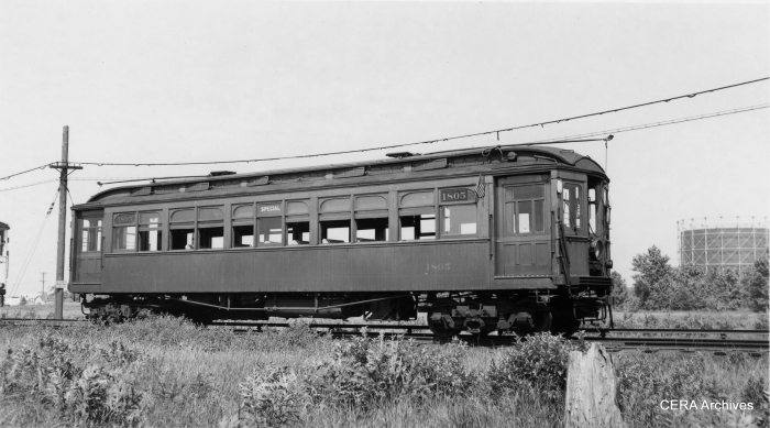 CRT 1805 sports an American flag in this late 1930s photo by La Mar M. Kelley. This may be out on the Westchester branch (note the sparse development and the single track.)