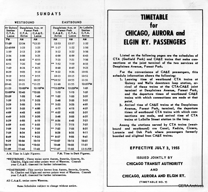 Joint timetables such as this helped improve the transfer of passengers between CA&E and CTA at Forest Park between 1953-57.