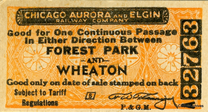 From 1953-57, CA&E service terminated at Forest Park, and passengers desiring to continue further east had to change trains and pay a CTA fare. There were no through tickets.