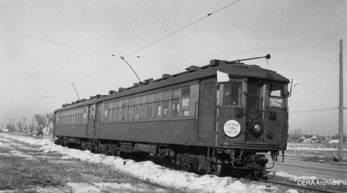 CRT 4317 leads the way on a CERA fantrip on the CA&E's Mount Carmel branch on February 12, 1939.