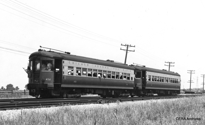 CA&E cars 456 and 457 at Batavia Junction on July 3, 1949.