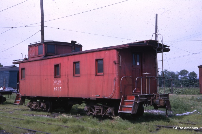 CNS&M caboose 1005 at North Chicago Junction on June 16, 1962. (Photo by W. A. Gibson)