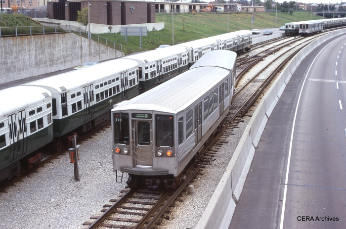 """A Douglas-Milwaukee """"B"""" train at Jefferson Park (then the end of the line) in September 1972. (Photo by Philip Horn)"""
