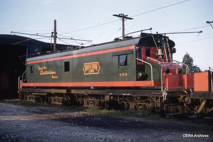 CNS&M freight loco 458 looking pretty good at North Chicago in October, 1961.