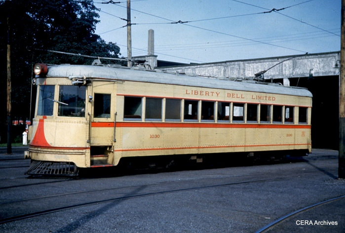 Lehigh Valley Transit car 1030 as it looked at Fairview car barn on September 9, 1951, a few days after interurban service ended. The original paint chips from 1939 still exist for this color array, and hopefully can be used to provide an exact match the next time this car is repainted at the Seashore Trolley Museum.
