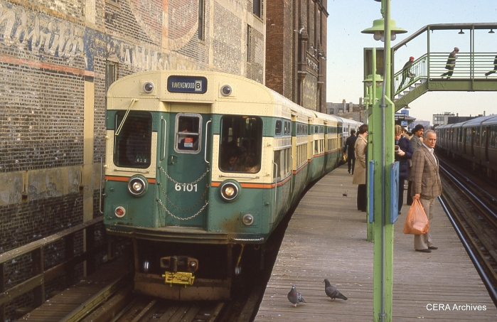 CTA 6101-6102 heading up a Ravenswood B train southbound at Belmont in the mid-1980s. These cars are now at the Fox River Trolley Museum in South Elgin. (Photo by David Sadowski)