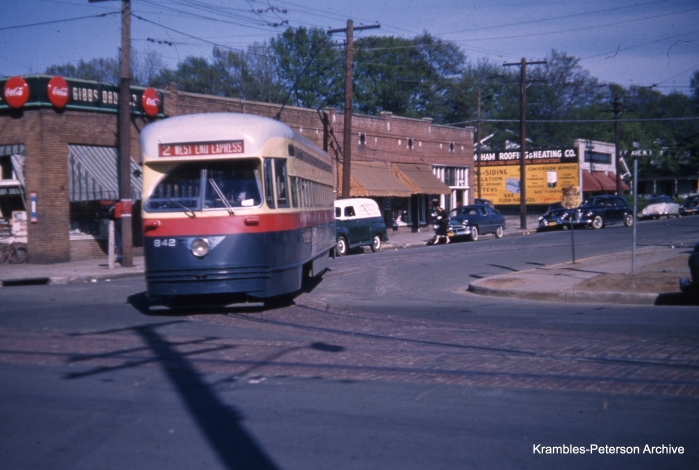 Birmingham (AL) Electric PCC 842 circa 1950. This car's attractive color scheme has been reproduced in San Francisco on Muni car 1077. You can see how that car looks here: http://commons.wikimedia.org/wiki/File:San_Francisco_PCC_streetcar_1077,_Birmingham_livery.jpg