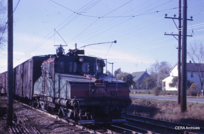 A North Shore Line freight train led by loco 456 at Rondout in November 1962. (Photographer unknown)