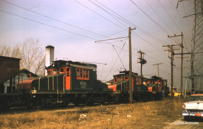 """Three North Shore """"pups"""" at work in March 1961, with loco 452 at rear. (Photographer unknown)"""
