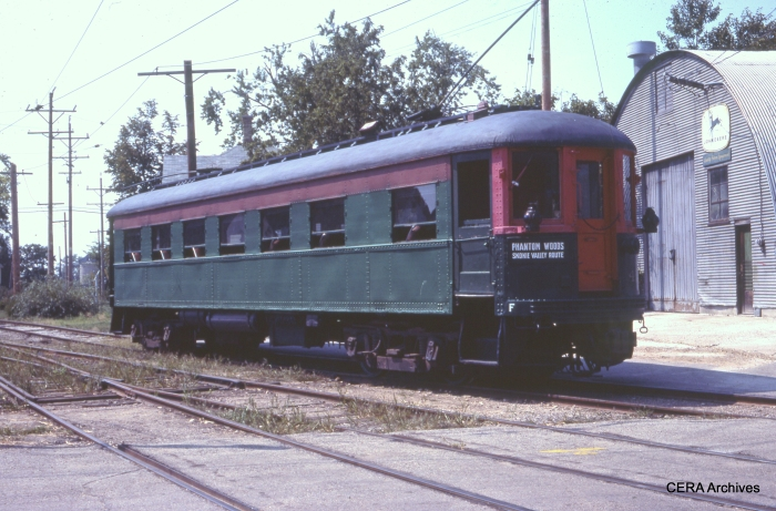CNS&M 411 at the East Troy Trolley Museum in November 1976. It was built by Cincinnati Car Co. in 1924 as an observation trailer car, later converted to coach. From 1964-74 it was owned by the Trolley Museum of NY. In 1974 it was sold to the The Wisconsin Electric Railway Historical Society, and then in turn to the Escanaba & Lake Superior RR in Wells, MI in 1984, where it remains today. (Photographer unknown)