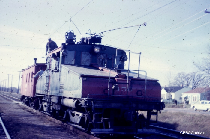 North Shore Line loco 456 and caboose in November 1962. (Photographer unknown)