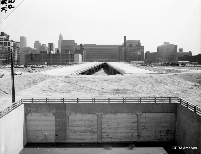 """May 18, 1954: """"Looking east at the super highway, from the Halsted Street bridge."""" (Photo by Bob Kotalik)"""