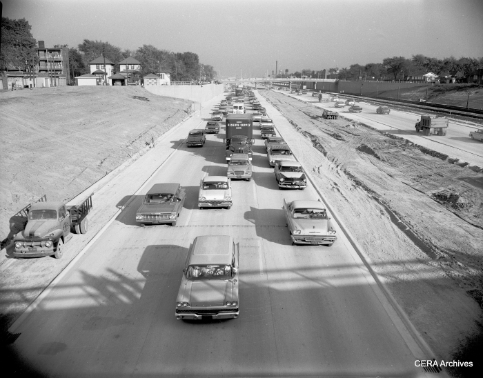 "October 12, 1960: ""Solid pack of cars passing thru Congress expressway after formal opening of the last link between Central and 1st Ave."" (Photo by B. Kotalik)"