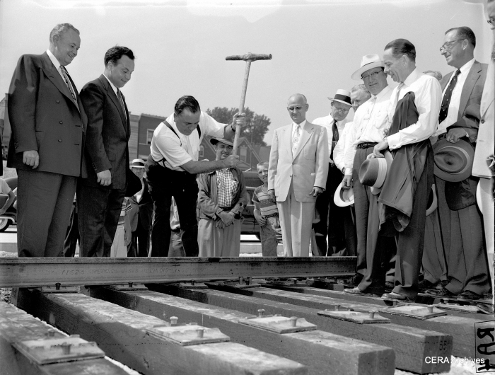 "Congress St. and Pulaski Rd., July 28, 1955: ""Mayor Daley drives the golden spike in the Congress Street strip to lay the first rail in the Congress St. Superhighway."" (Photo by Arvidson)"
