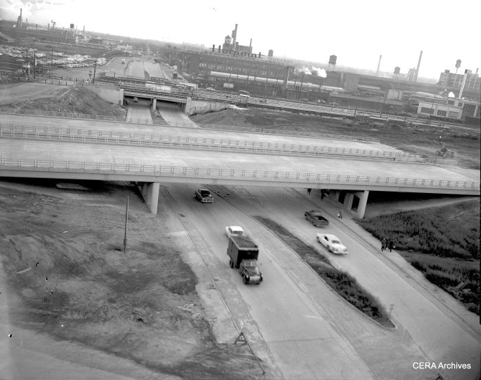 "January 7, 1960: Looking south on Central, we see the uncompleted expressway and the temporary CTA platforms. According to www.chicago-l.org, ""On October 16, 1959, the permanent eastbound Congress Line track was placed in service between Parkside and Pine avenues thru Lotus Tunnel. A temporary side platform was placed in service. Three days later, on October 19, the permanent westbound track and a temporary westbound side platform was placed in service, closing the previous temporary platform. Meanwhile, between the permanent tracks, the new, permanent island platform was constructed. The new Central station platform (with temporary fare controls) was placed in service on October 10, 1960, with westbound trains first using it, followed by eastbound trains the next day. On October 11, 1960, the third and final temporary Central station was closed."" (Photographer unknown)"