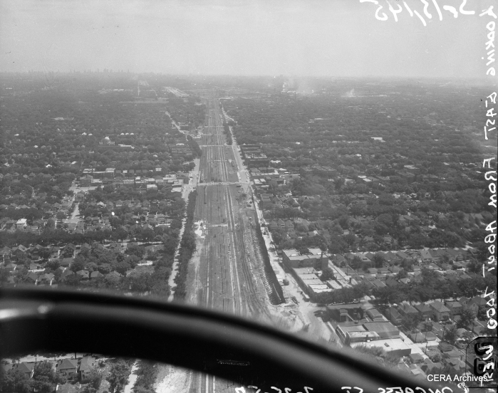 An aerial view of the Congress expressway under construction on July 25, 1957. The view is looking east from about 7000 west. (Photo by Burley)