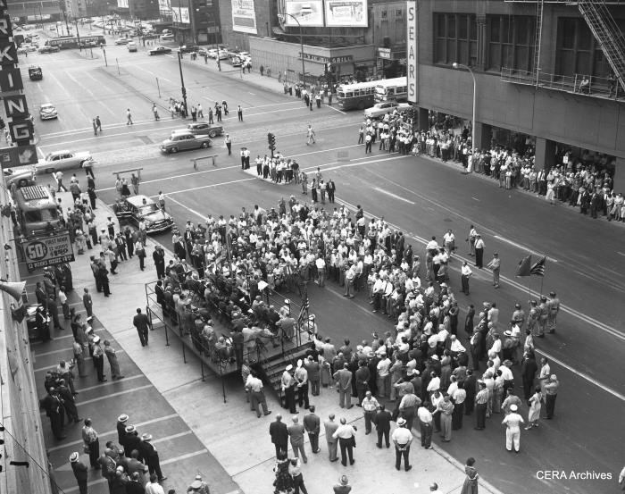 August 10, 1956: Ceremonies marking the opening of the downtown stretch of the Congress expressway. Note the PCC car in the background. (Photographer unknown)