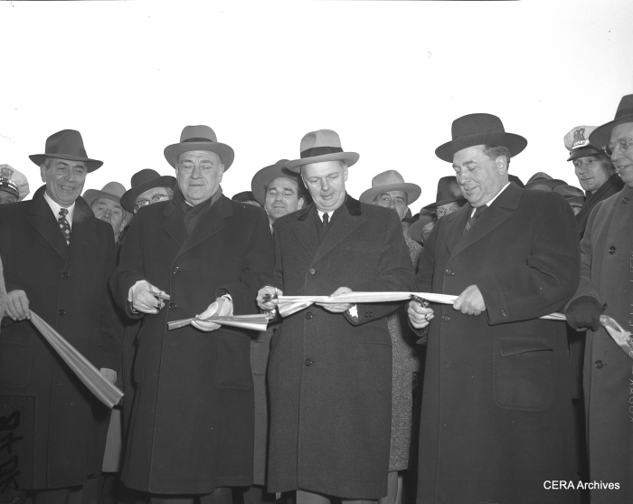 December 15, 1955: Ceremonial ribbon-cutting as the Congress expressway is opened between Ashland and Laramie. Cook county Board President Dan Ryan, Jr., Gov. William G. Stratton, and Mayor Richard J. Daley officiating. (Photographer unknown)