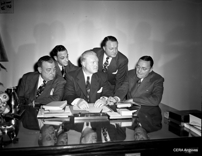 "1949: ""Chicago officials discuss Congress Highway plans."" (Photographer unknown)"