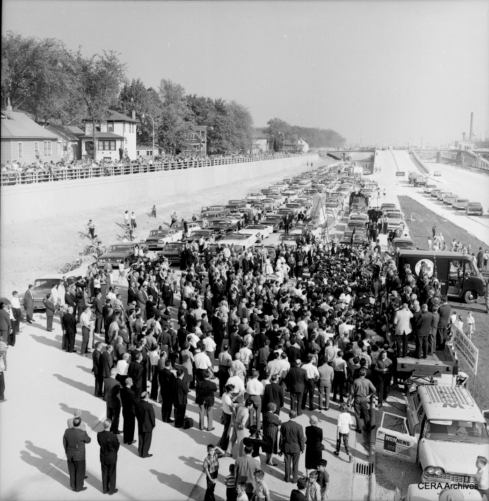 "October 12, 1960: ""Looking down from overpass at formal opening of Congress Expressway."" (Photo by Zack)"