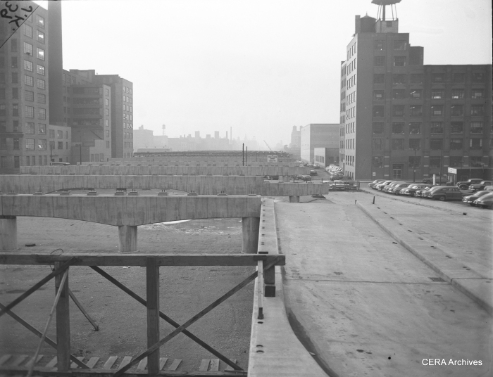 "February 4, 1953: ""Looking west from Canal street along the concrete structures already in place for the super highway."" (Photo by Joe Kordick)"