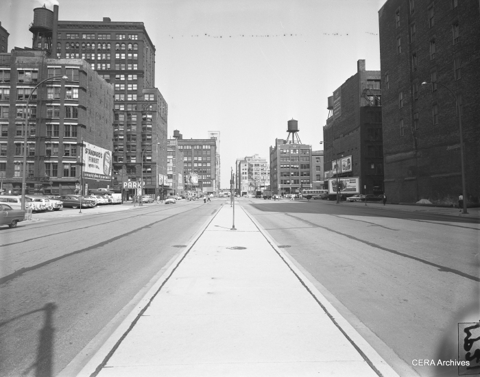 "August 6, 1956: ""Looking east from Clark street showing the wide sweep of Congress street through the Chicago Loop."" (Photo by Merrill Palmer)"