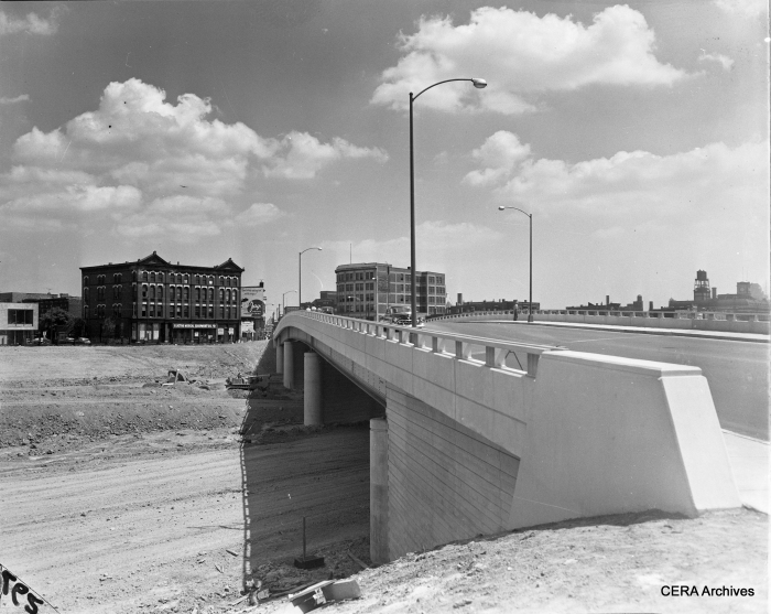 "Looking northeast at Ogden and the Congress highway circa 1953-54. By now, the old ""L"" has been torn down in this area, and the temporary Van Buren street right-of-way is just barely visible on the left side of the picture. (Photographer unknown)"
