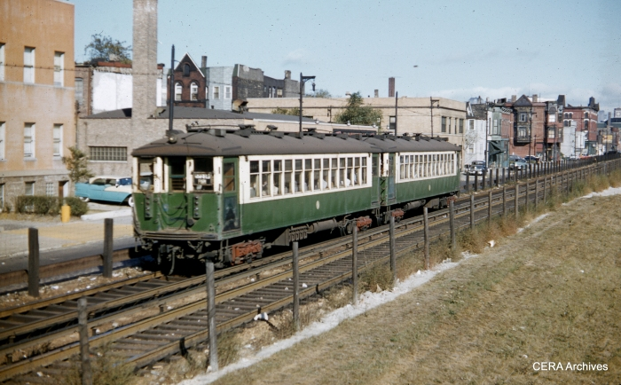 A two-car train of CTA 4000s along the temporary Van Buren trackage circa 1954-55. (Photographer unknown)