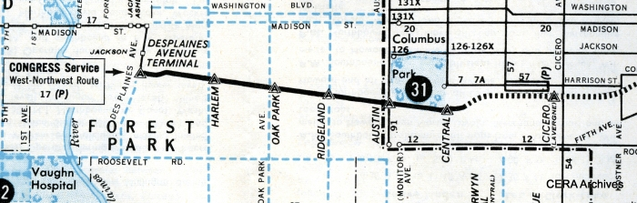 This 1959 CTA map shows the temporary stations on the then-new Congress line between Central and DesPlaines. This included a station at Ridgeland, replacing a Garfield Park station at nearby Gunderson, but no permanent station was put there. CTA opted to use secondary entrances instead at both East Avenue and Lombard. The Central stop was not successful and was closed in 1973.