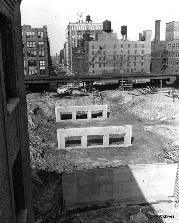 "October 25, 1950: ""The Congress st. superhighway is the remaining link in Chicago's superhighway system. Here are the concrete piers for the Peoria st. bridge. The expressway will run under Halsted and Peoria sts."" (Photographer unknown)"
