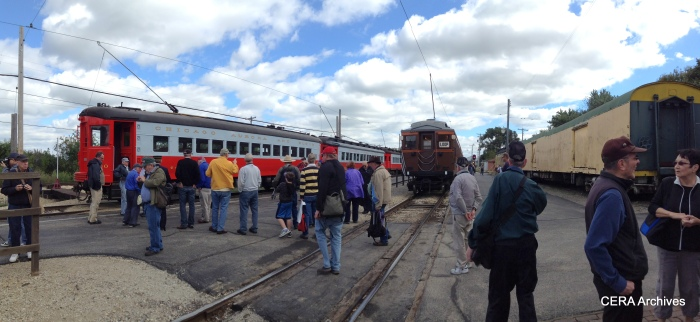 "The CERA crowd lines up to board the ""Roarin' Elgin"" train. (Photo by Diana Koester)"