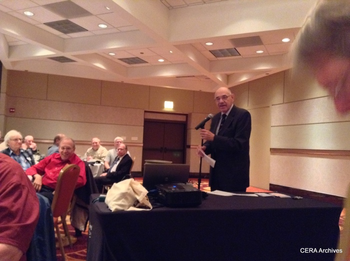 Master of Ceremonies Ray DeGroote at the 75th Anniversary Banquet/Program. (Photo by Diana Koester)