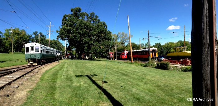 A panoramic view of the north end of the Fox River Trolley Museum. (Photo by Diana Koester)