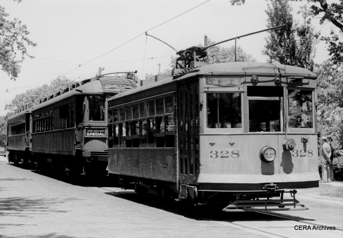Birney car 328 in Waukegan. (Photo by Eugene Van Dusen, John Nicholson Collection)