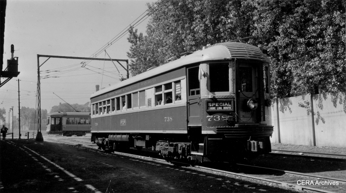CNS&M 738 at Buena Yard (near Irving Park Road) on 6-16-40. That's a CSL streetcar in the background, and Graceland cemetery behind the wall. (Photo by George Krambles, John Nicholson Collection)