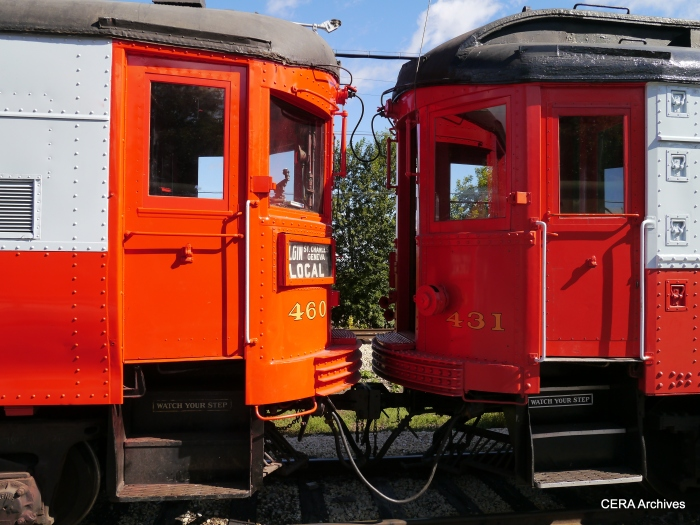 Cars 460 and 431 can couple together, despite being of different vintages. (Photo by David Sadowski)