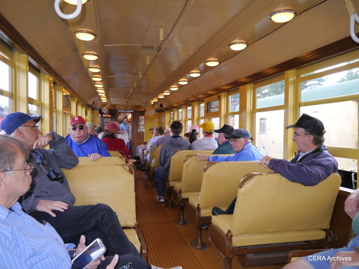 "CERA fantrip riders on the wooden ""L"" cars. (Photo by David Sadowski)"