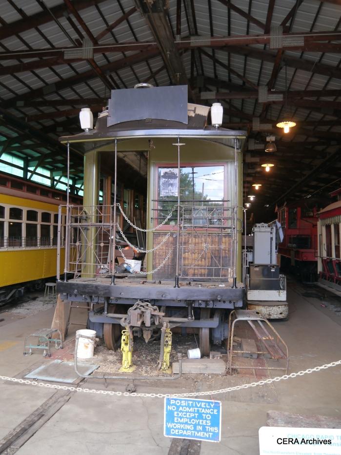 "CRT/CTA wooden ""L"" car 1024 is undergoing restoration. (Photo by David Sadowski)"
