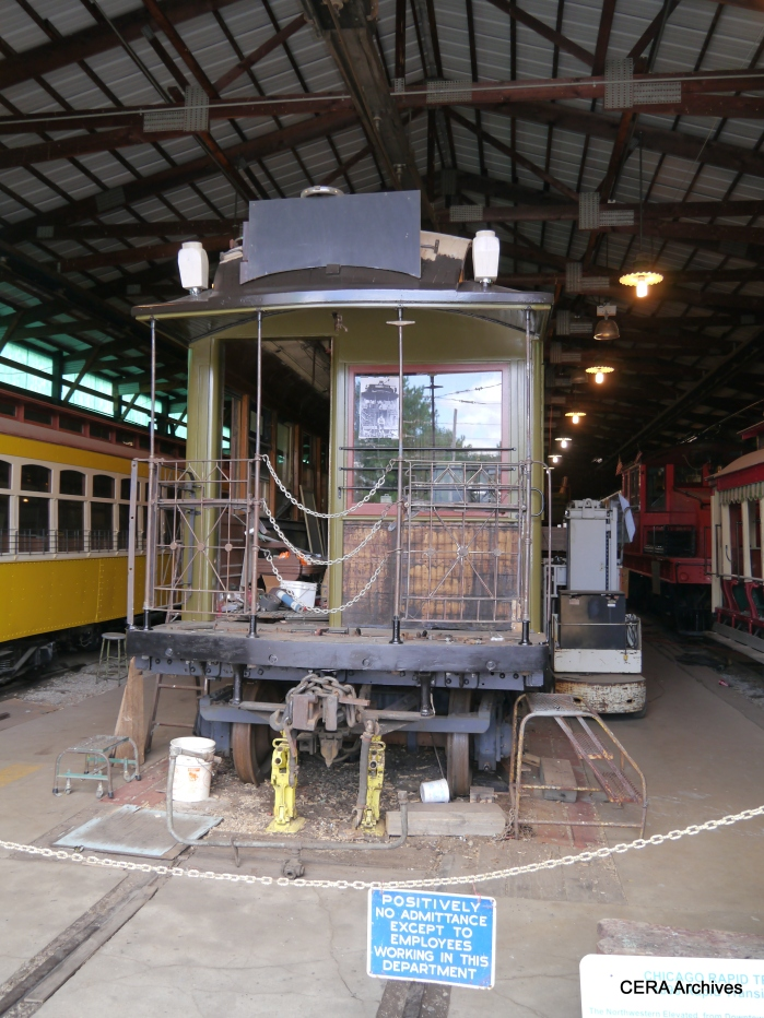 "CRT/CTA wooden ""L"" car 1024 is undergoing restoration. (Photo by David Sadowski)"