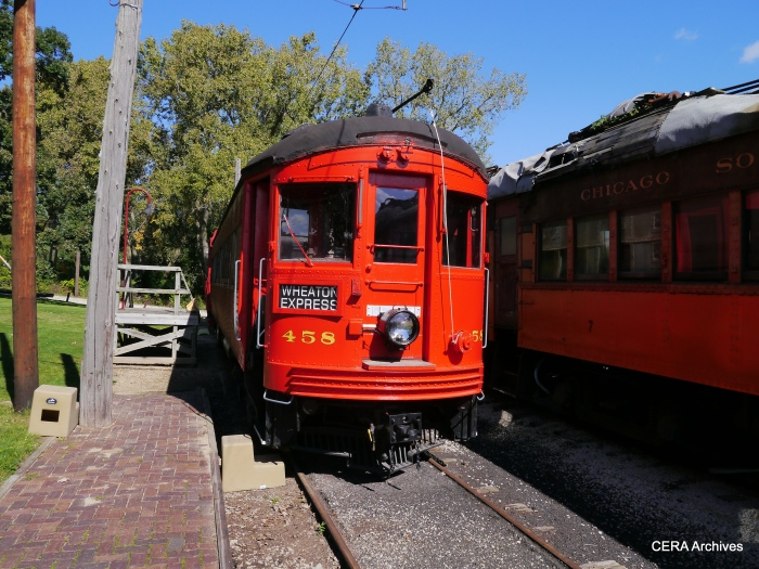 """The front end of CA&E 458 looks really good, but the rest of the car needs work before it can run at Fox River. It was acquired from the defunct """"Trolleyville USA"""" operation in Ohio. (Photo by David Sadowski)"""