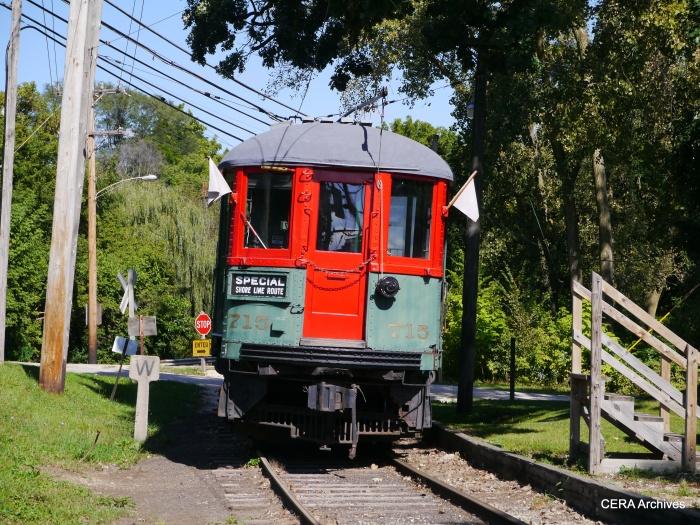 North Shore Line 715 prepares to depart Castlemuir. (Photo by David Sadowski)