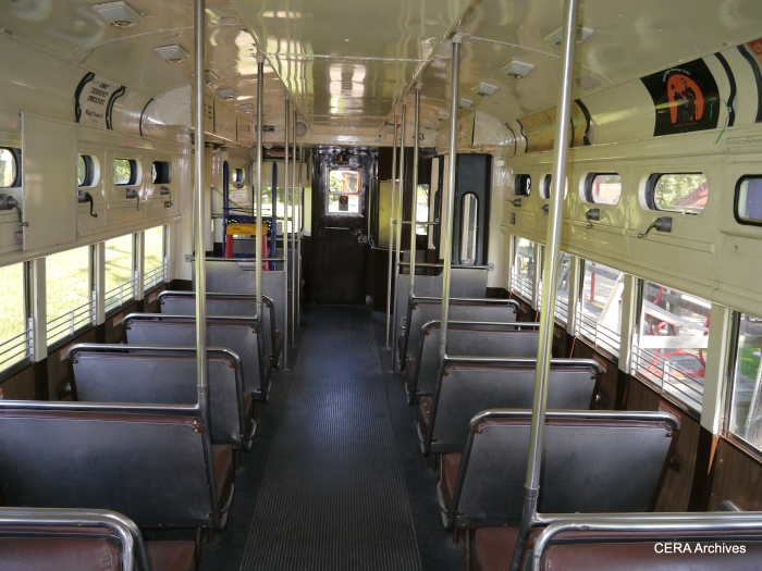 The interior of a CTA single car unit- a sight familiar to Chicago commuters for more than 30 years. (Photo by David Sadowski)