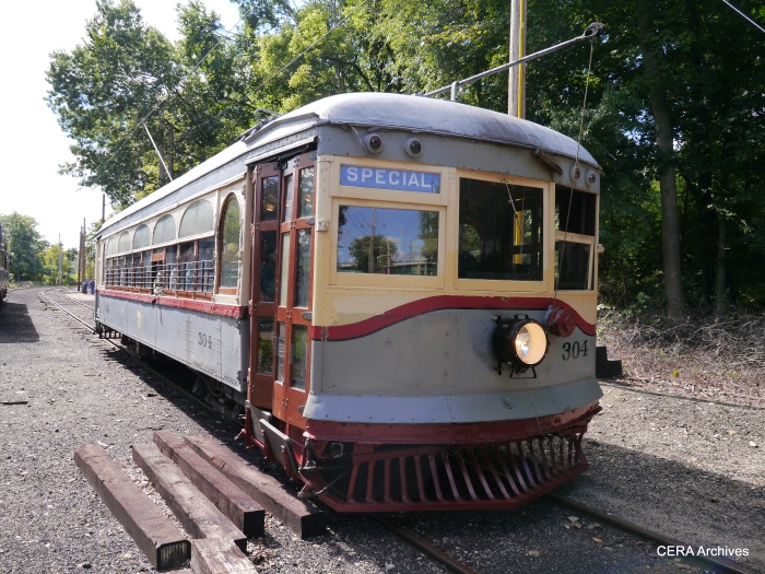 Car 304 at Coleman. It is always very gratifying when a car returns to run on its home rails. (Photo by David Sadowski)