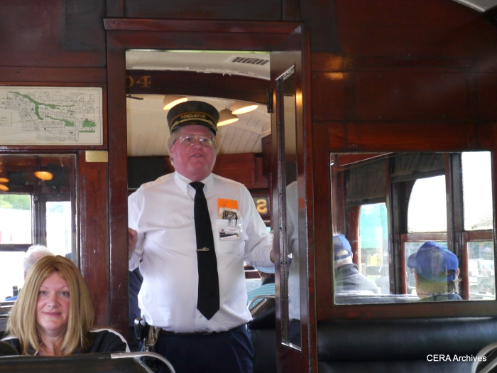 The conductor of car 304. The museum is staffed by a group of dedicated volunteers. (Photo by David Sadowski)