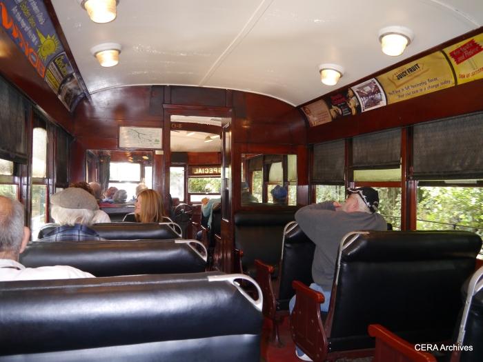 The interior of AE&FR car 304. (Photo by David Sadowski)