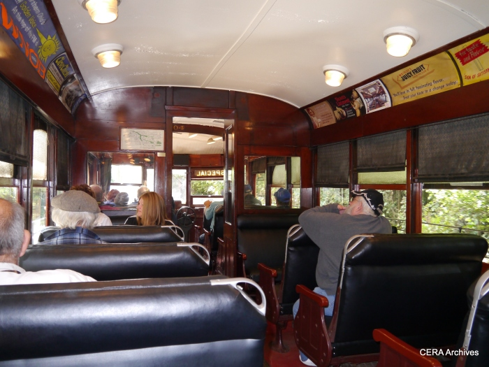 The interior of AE&FR car 304. (Photo by David Sadowski)