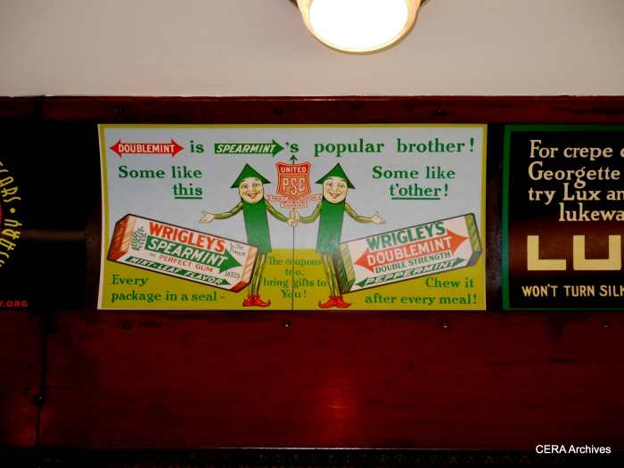 Car 304 is decorated with period advertisements such as this. (Photo by David Sadowski)