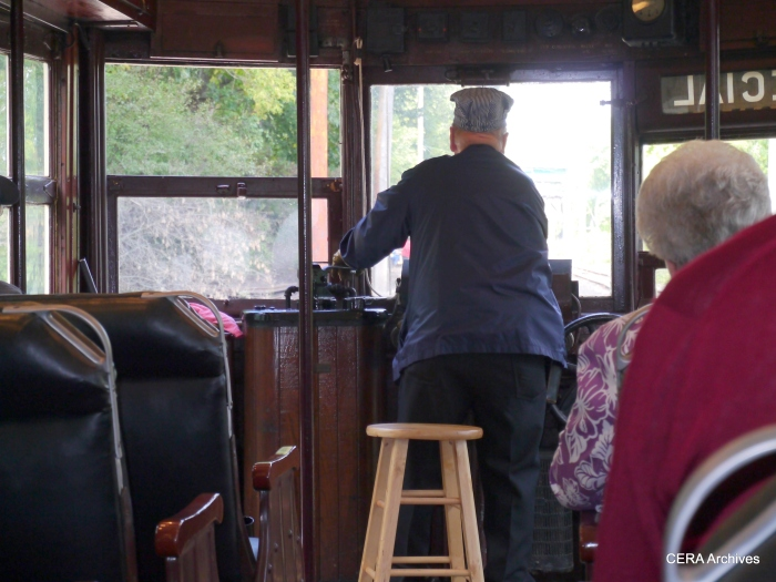 At the helm of car 304, which ran on the AE&FR from 1924 to 1935. (Photo by David Sadowski)
