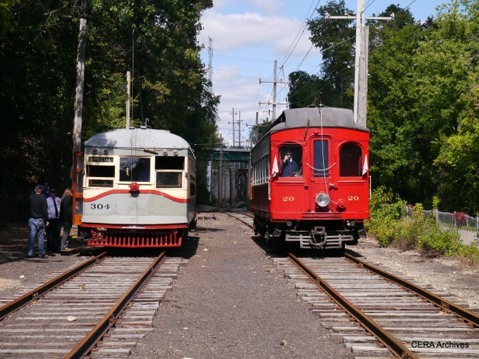 Cars 304 and 20 bask in the sun at Coleman. (Photo by David Sadowski)