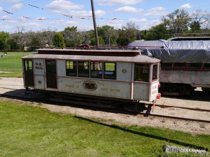 Fox River's collection includes Chicago streetcar RPO 6. In the early 1900s, trolleys collected mail en route and some sorting and cancelling happened on board. (Photo by David Sadowski)